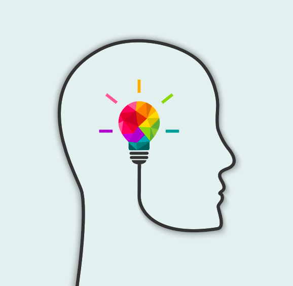 Birkman Method Illustration outline of profile with rainbow colored light bulb in center of head