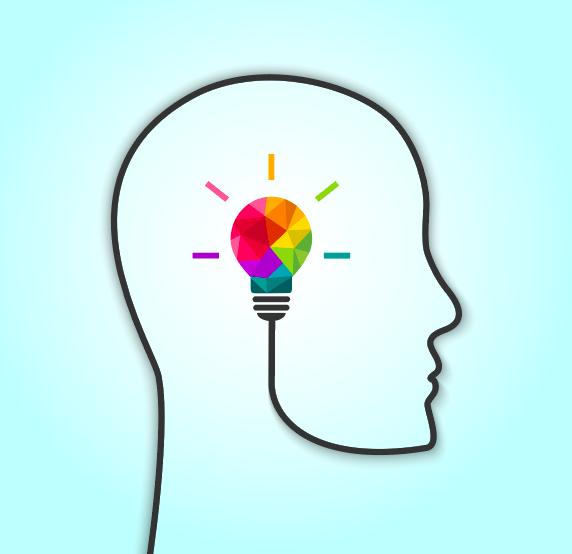 birkman method illustration of head with multi-colored lightbulb inside