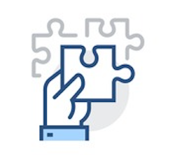 icon of hand holding a puzzle piece